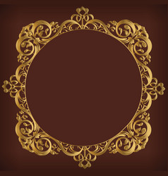 frame decorative circle gold ornament border vector image