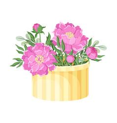 garden flowers arranged in carton box vector image