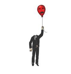 gentleman with balloon head color sketch engraving vector image