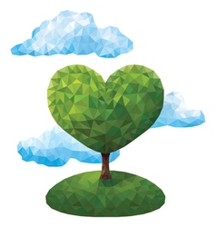 Geometric tree in the shape of a heart vector