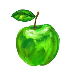 Green apple hand drawn vector