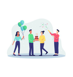 group joyful people celebrating birthday party vector image