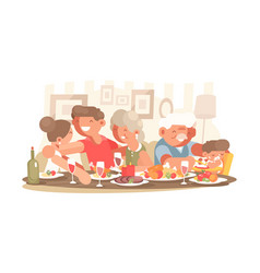 Happy family at dinner table vector