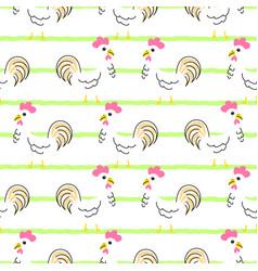 hen cartoon seamless pattern vector image