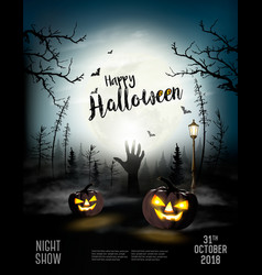 holiday halloween spooky background with pumpkins vector image