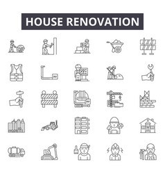 House renovation line icons signs set vector