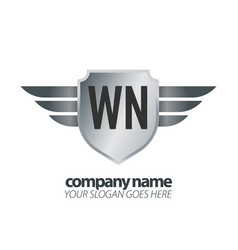 Initial letter wn shield icon design logo wing vector