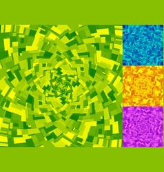 Irregular spirals made of squares rotating vector