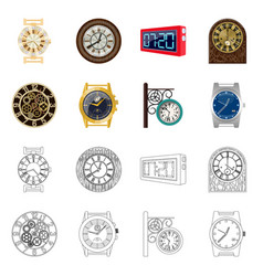 isolated object of clock and time symbol set of vector image