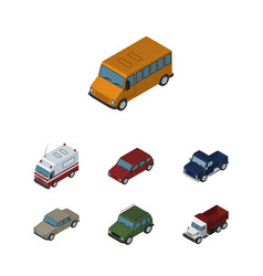 isometric transport set of first-aid suv auto vector image