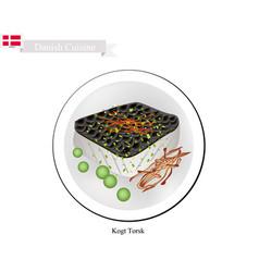 Kogt torsk or boiled cod a popular dish in denmar vector