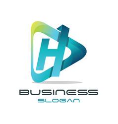 Letter h media logo vector