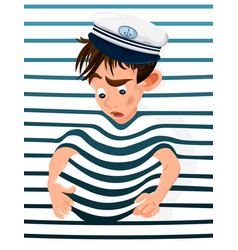 little boy trapped in a marine background vector image
