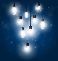 Luminous light bulbs hanging on cords - lamps vector image