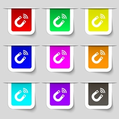 Magnet icon sign Set of multicolored modern labels vector