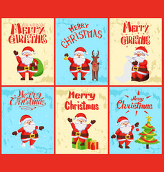 merry christmas santa claus decorating pine tree vector image