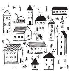 Minimal ethnic houses set vector