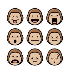 Monkey emoticon set vector