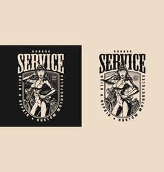 motorcycle garage service vintage print vector image