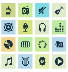 Multimedia icons set collection of music vector