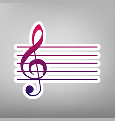 Music violin clef sign g-clef purple vector