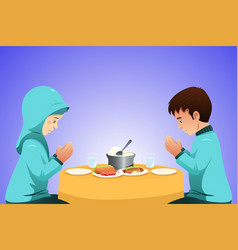Muslim couple eating before meal vector
