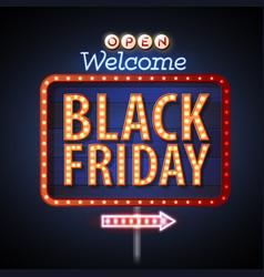 Neon sign black friday open vector