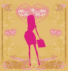 New baby announcement card with pregnant woman vector