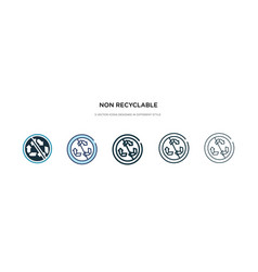 Non recyclable icon in different style two vector