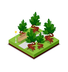 park road and bench isometric 3d icon vector image