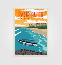 pasir putih anyer beach vintage poster design vector image
