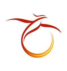 phoenix tail swoosh symbol design vector image