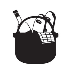 picnic basket silhouette vector image