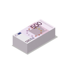 Pile euro banknotes isometric 3d icon vector