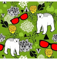 Polar bears and floral elements vector image
