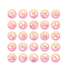 Prohibition sign gradient icon set vector