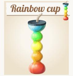 Rainbow ice cup frozen drink unusual shape vector