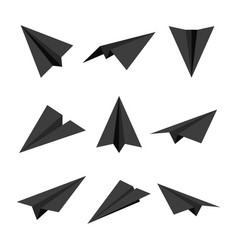 Realistic black handmade paper planes isolated vector