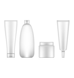 Realistic cosmetic bottle set isolated on white vector