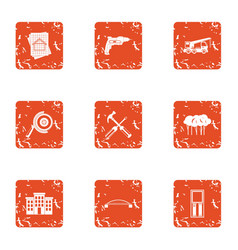 Reconstruction of building icons set grunge style vector