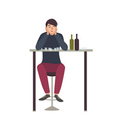 sad man with closed eyes sitting at bar and vector image