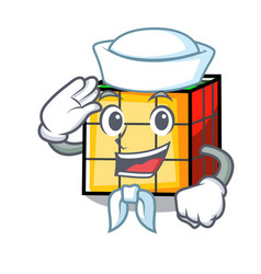 Sailor rubik cube character cartoon vector