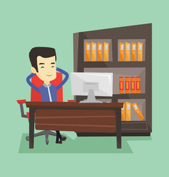 satisfied business man relaxing in office vector image