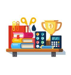 School tools on the shelf vector
