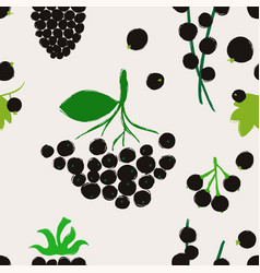 seamless pattern with black berries vector image