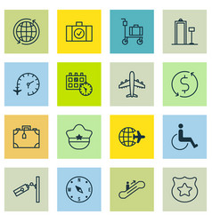 Set 16 airport icons includes accessibility vector