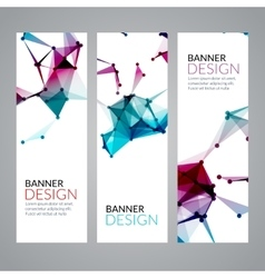 set geometric polygonal banners Technology vector image