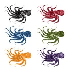 set grunge octopus vector image