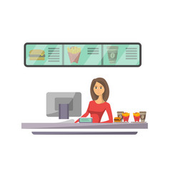Shop counter with cashier icon in flat style vector