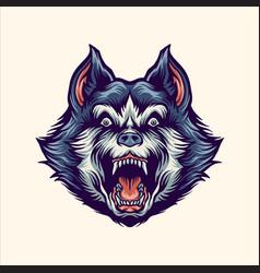 siberian husky angry mascot vector image